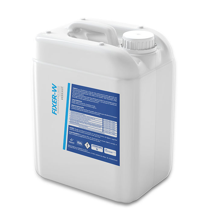 Fixer w desinfectante a base de sales cuaternarias de cuarta generación.